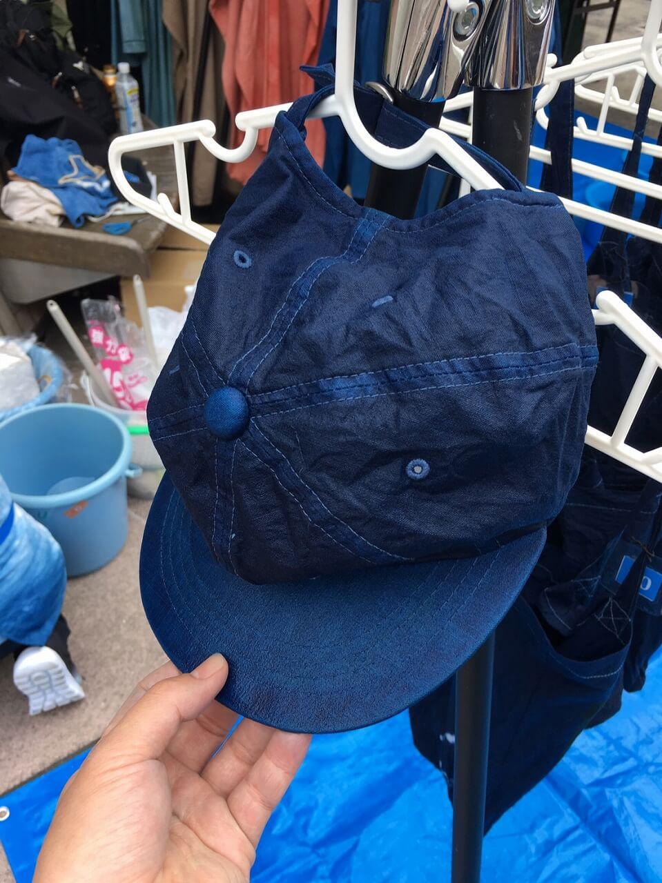 帽子藍染干し