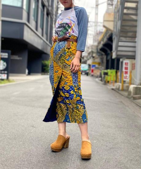 【Used】African Batik Long Skirt 3
