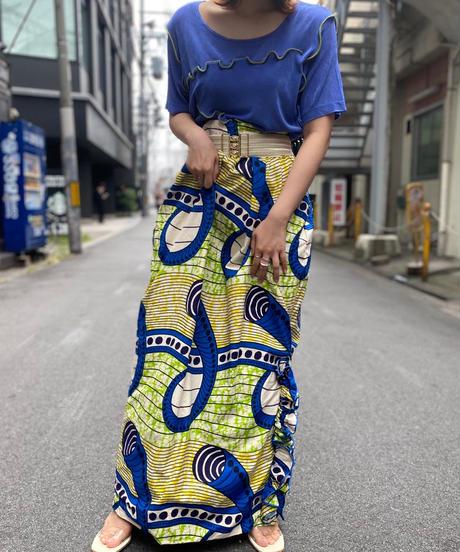 【Used】African Batik Long Skirt 7