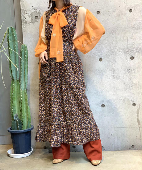 【Used】Cotton Flower Apron One Piece