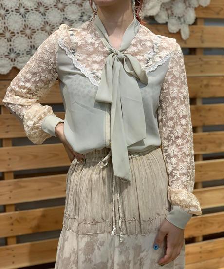 【Used】L/S Lace Ribbon Blouse