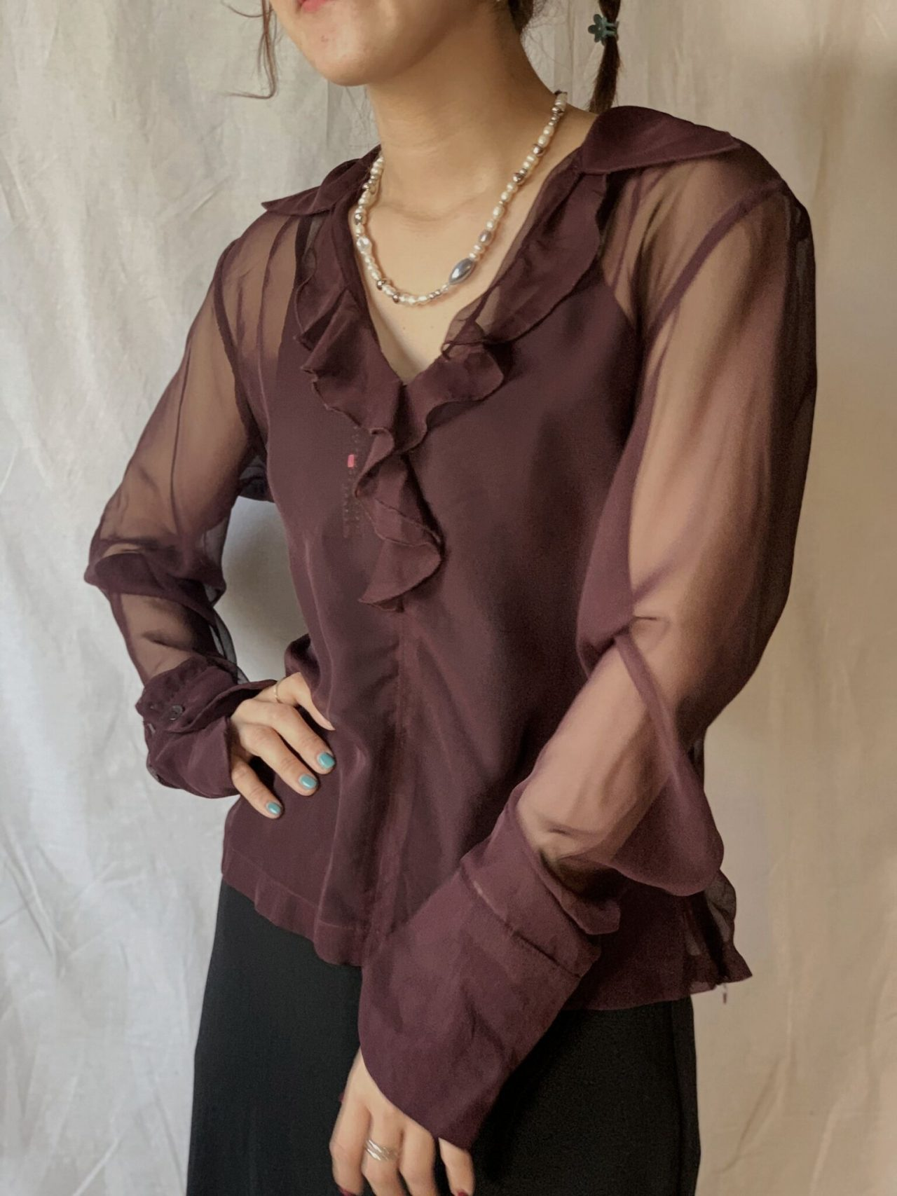 【USED】L/S See-through Blouse