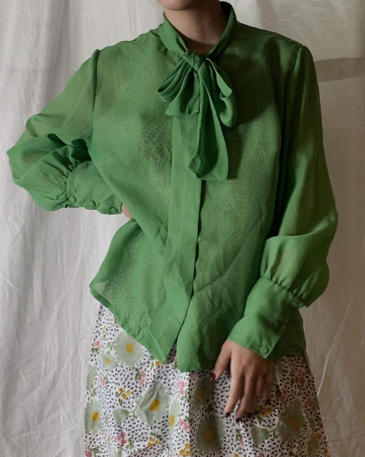 【USED】 See-through Poly Blouse