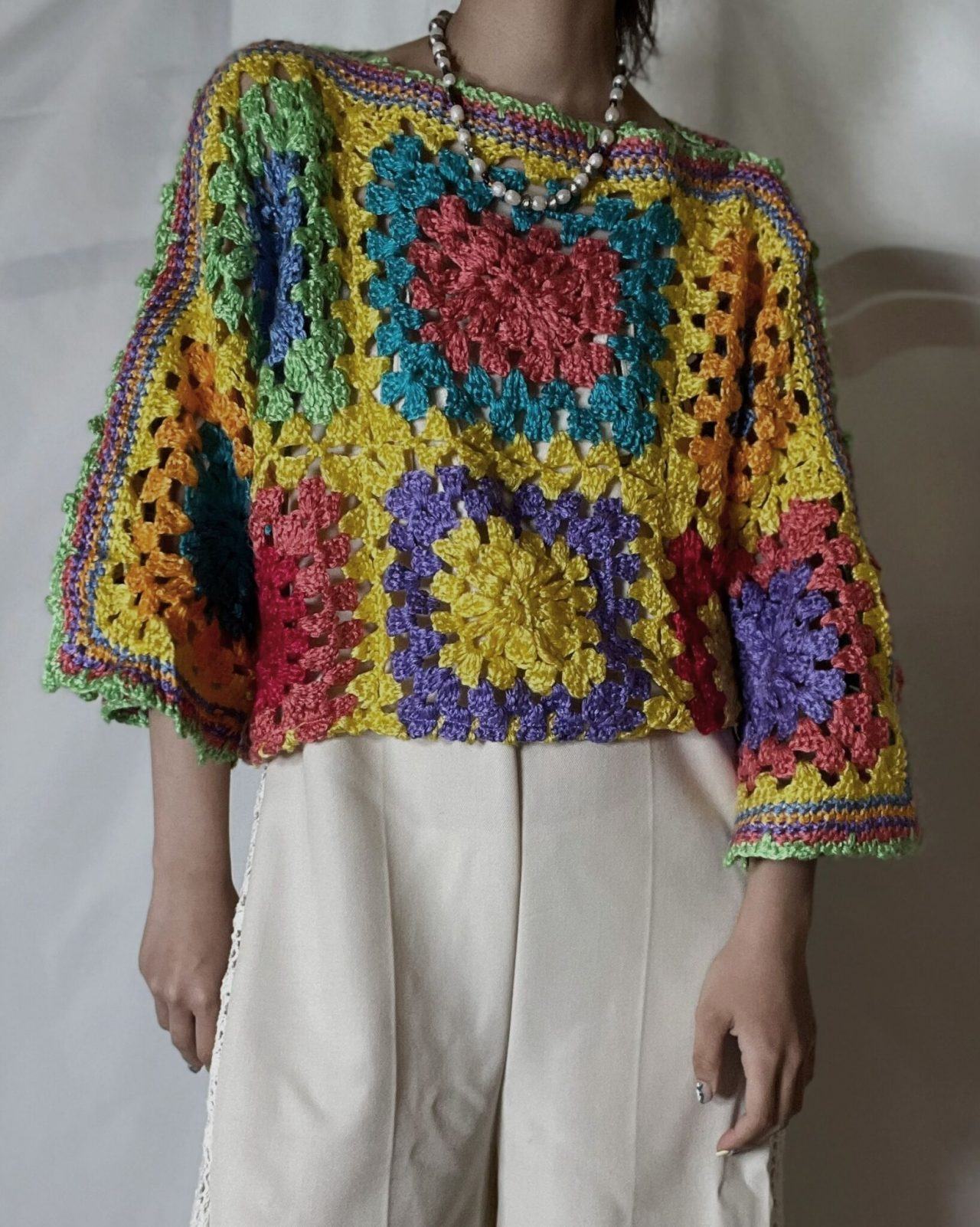 【RE;CIRCLE】 RE Granny Knit S/S Top